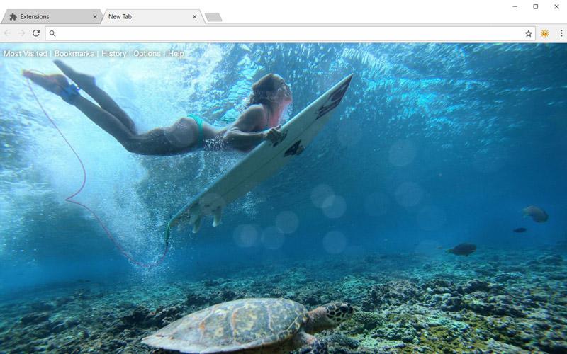Girl with surfboard underwater